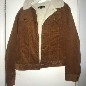 Corduroy faux fur lined jacket